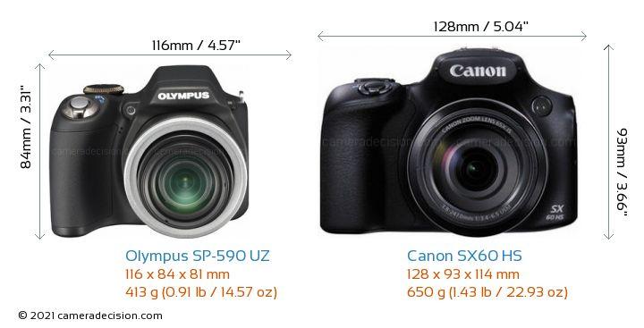 Olympus SP-590 UZ vs Canon SX60 HS Camera Size Comparison - Front View