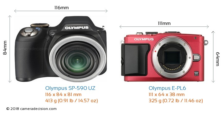 Olympus SP-590 UZ vs Olympus E-PL6 Camera Size Comparison - Front View