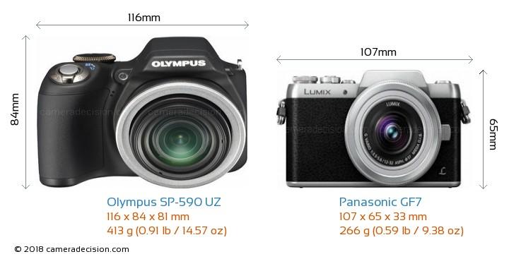 Olympus SP-590 UZ vs Panasonic GF7 Camera Size Comparison - Front View