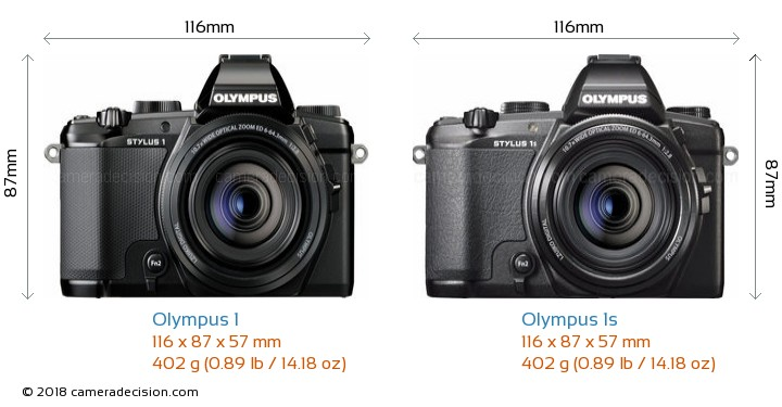 Olympus 1 vs Olympus 1s Camera Size Comparison - Front View