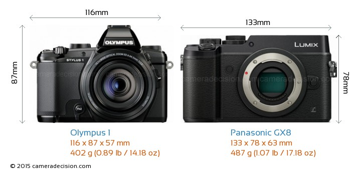 Olympus 1 vs Panasonic GX8 Camera Size Comparison - Front View