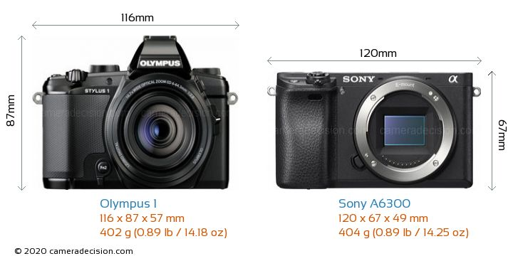 Olympus 1 vs Sony A6300 Camera Size Comparison - Front View
