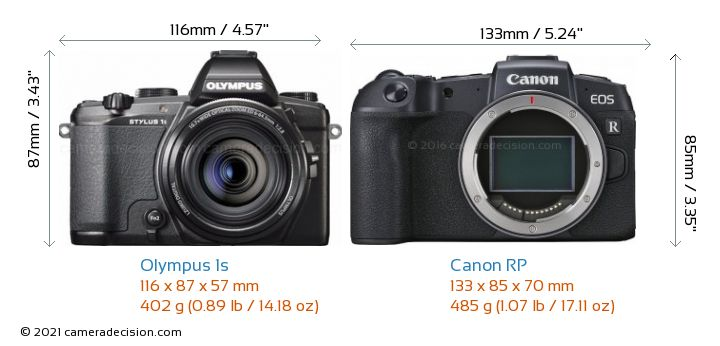Olympus 1s vs Canon RP Camera Size Comparison - Front View