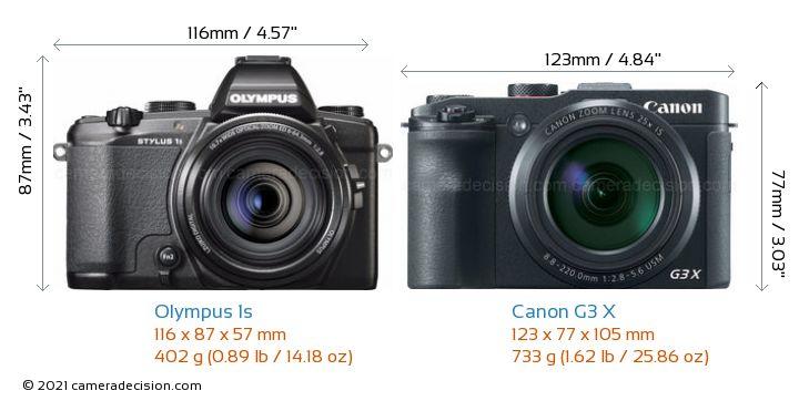 Olympus 1s vs Canon G3 X Camera Size Comparison - Front View