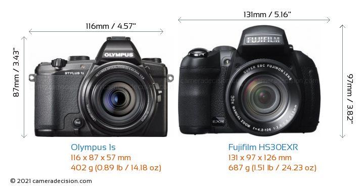 Olympus 1s vs Fujifilm HS30EXR Camera Size Comparison - Front View
