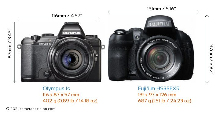 Olympus 1s vs Fujifilm HS35EXR Camera Size Comparison - Front View