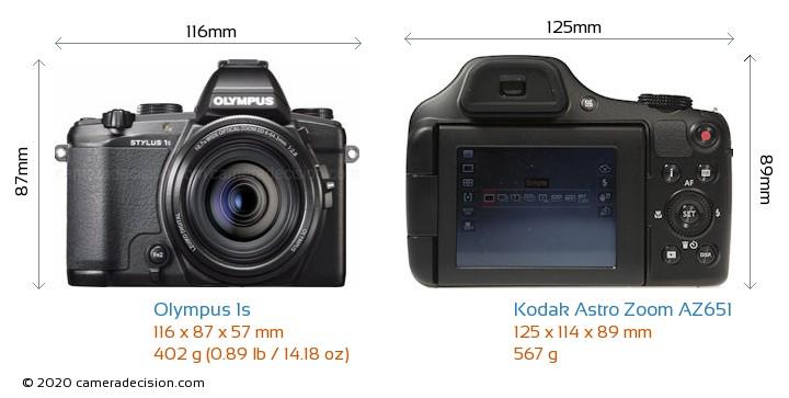 Olympus 1s vs Kodak Astro Zoom AZ651 Camera Size Comparison - Front View