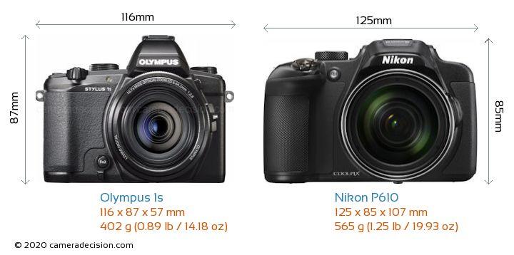 Olympus 1s vs Nikon P610 Camera Size Comparison - Front View