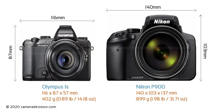 Olympus 1s vs Nikon P900 Camera Size Comparison - Front View