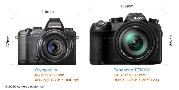Olympus 1s vs Panasonic FZ1000 II Camera Size Comparison - Front View