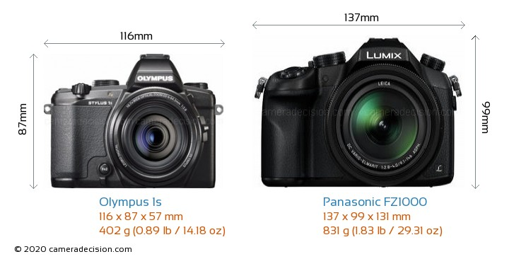 Olympus 1s vs Panasonic FZ1000 Camera Size Comparison - Front View