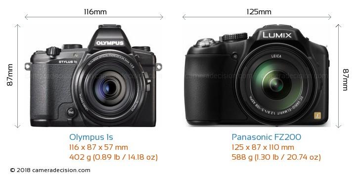 Olympus 1s vs Panasonic FZ200 Camera Size Comparison - Front View