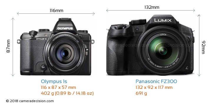 Olympus 1s vs Panasonic FZ300 Camera Size Comparison - Front View