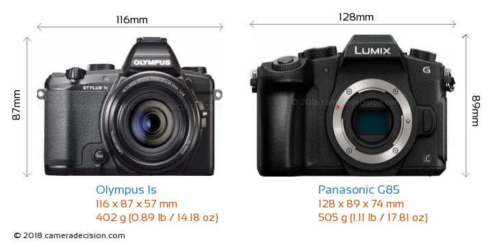 Olympus 1s vs Panasonic G85 Camera Size Comparison - Front View