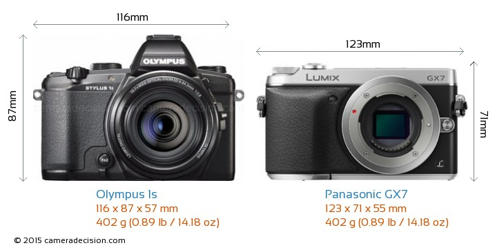 Olympus 1s vs Panasonic GX7 Camera Size Comparison - Front View