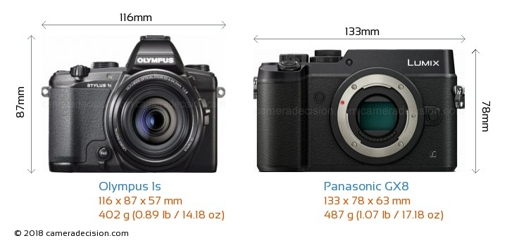 Olympus 1s vs Panasonic GX8 Camera Size Comparison - Front View