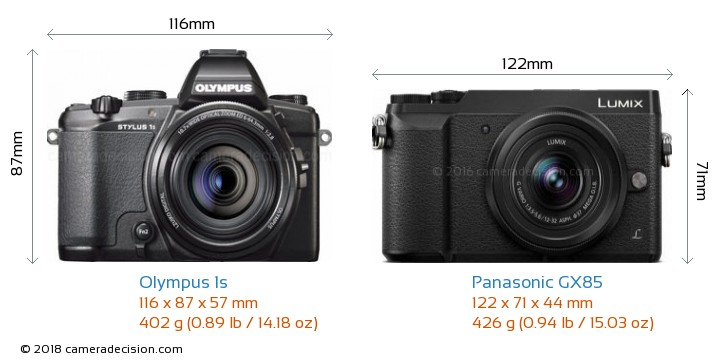 Olympus 1s vs Panasonic GX85 Camera Size Comparison - Front View