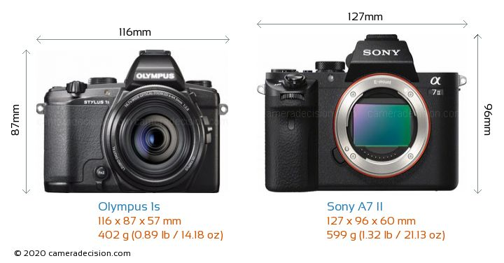 Olympus 1s vs Sony A7 II Camera Size Comparison - Front View