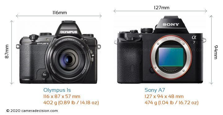 Olympus 1s vs Sony A7 Camera Size Comparison - Front View