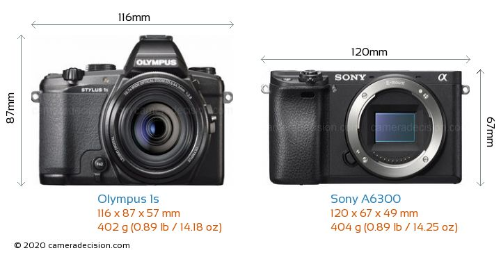 Olympus 1s vs Sony A6300 Camera Size Comparison - Front View