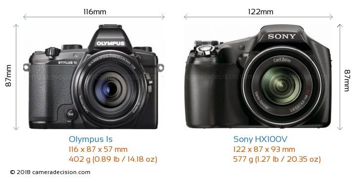 Olympus 1s vs Sony HX100V Camera Size Comparison - Front View