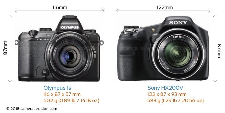 Olympus 1s vs Sony HX200V Camera Size Comparison - Front View