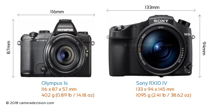 Olympus 1s vs Sony RX10 IV Camera Size Comparison - Front View