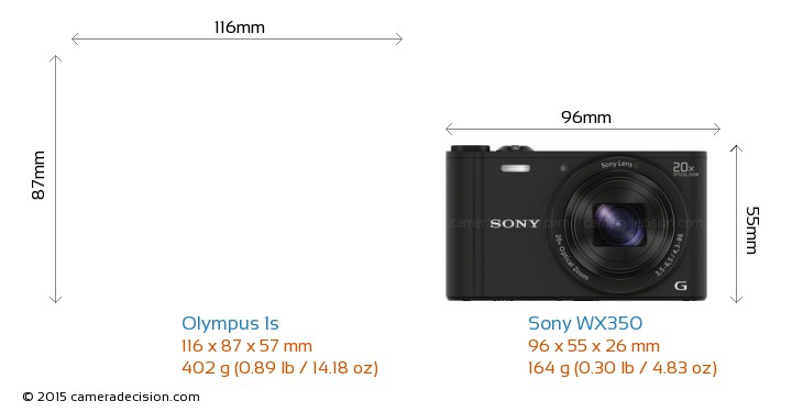 Olympus 1s vs Sony WX350 Camera Size Comparison - Front View