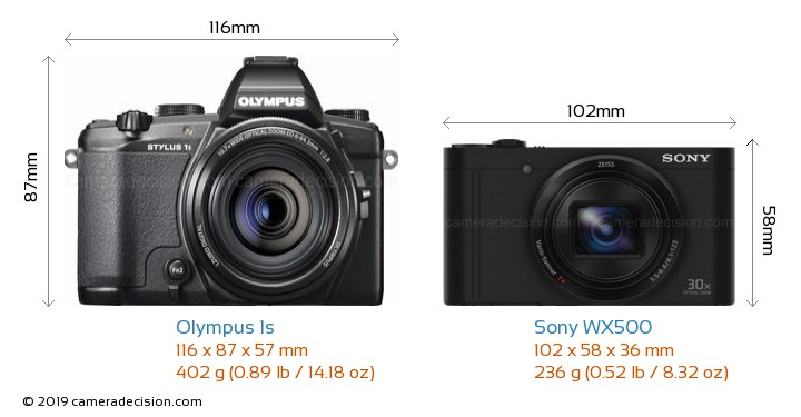 Olympus 1s vs Sony WX500 Camera Size Comparison - Front View