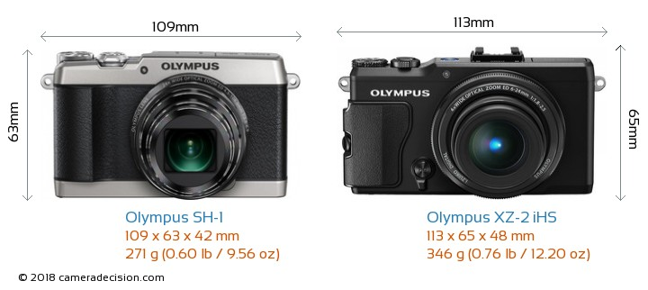 Olympus SH-1 vs Olympus XZ-2 iHS Camera Size Comparison - Front View