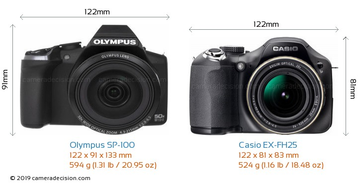 Olympus SP-100 vs Casio EX-FH25 Camera Size Comparison - Front View