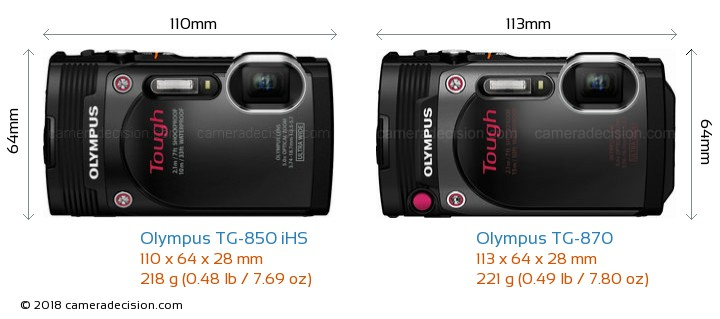 Olympus TG-850 iHS vs Olympus TG-870 Camera Size Comparison - Front View
