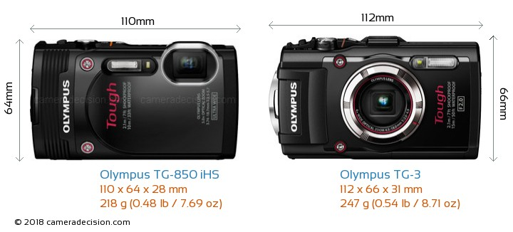 Olympus TG-850 iHS vs Olympus TG-3 Camera Size Comparison - Front View