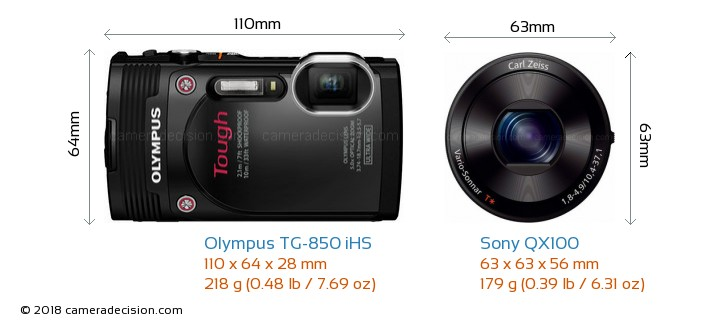 sony 850 100 camera. olympus tg-850 ihs vs sony qx100 camera size comparison - front view 850 100 n