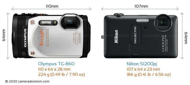 Olympus TG-860 vs Nikon S1200pj Camera Size Comparison - Front View