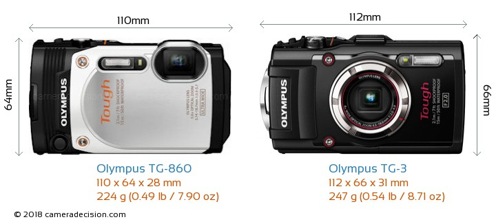 Olympus TG-860 vs Olympus TG-3 Camera Size Comparison - Front View