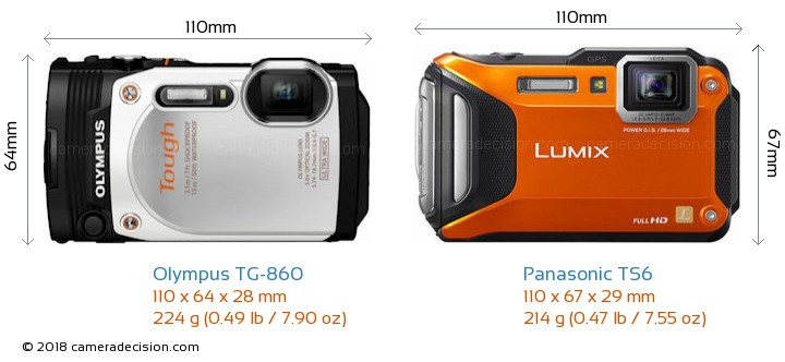 Olympus TG-860 vs Panasonic TS6 Camera Size Comparison - Front View