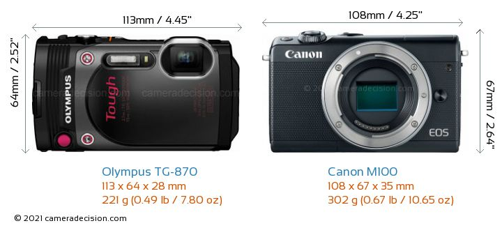 Olympus TG-870 vs Canon M100 Camera Size Comparison - Front View