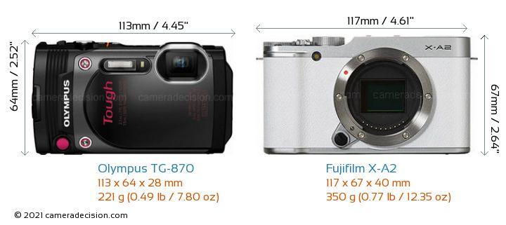 Olympus TG-870 vs Fujifilm X-A2 Camera Size Comparison - Front View
