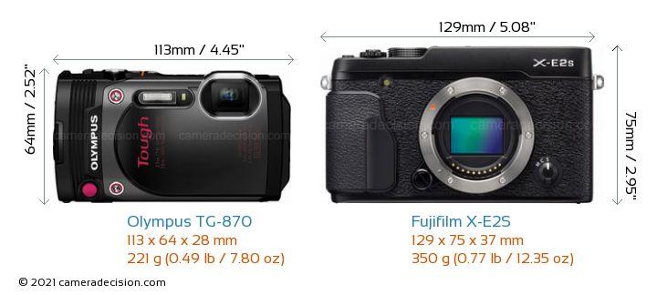 Olympus TG-870 vs Fujifilm X-E2S Camera Size Comparison - Front View