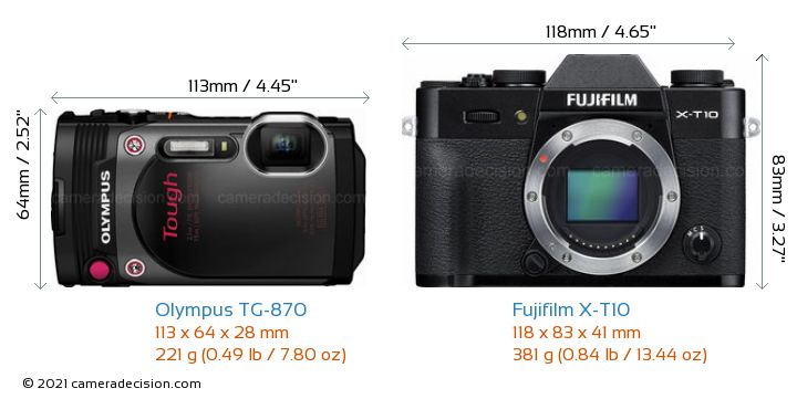 Olympus TG-870 vs Fujifilm X-T10 Camera Size Comparison - Front View