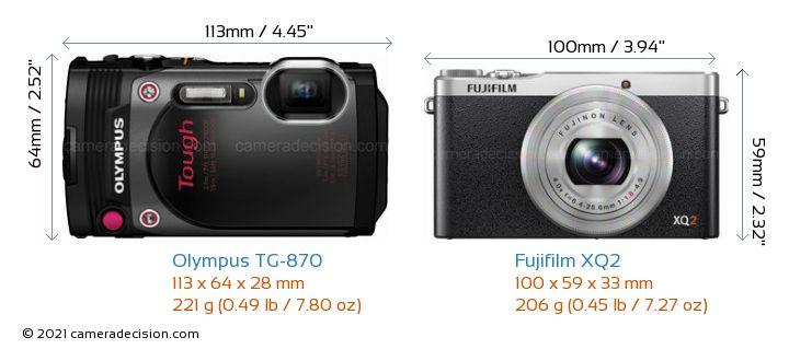 Olympus TG-870 vs Fujifilm XQ2 Camera Size Comparison - Front View