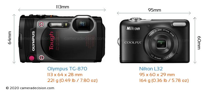 Olympus TG-870 vs Nikon L32 Camera Size Comparison - Front View