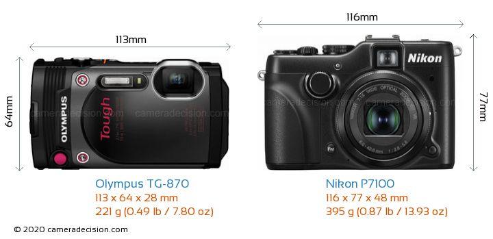 Olympus TG-870 vs Nikon P7100 Camera Size Comparison - Front View