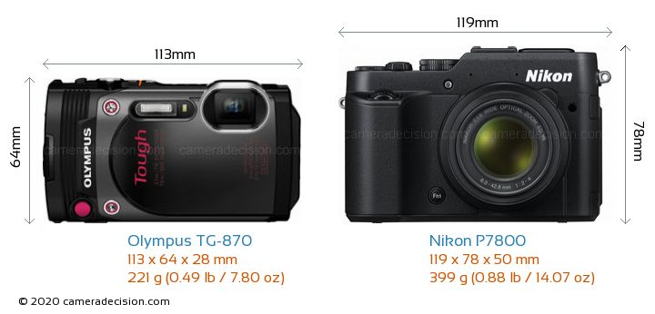Olympus TG-870 vs Nikon P7800 Camera Size Comparison - Front View