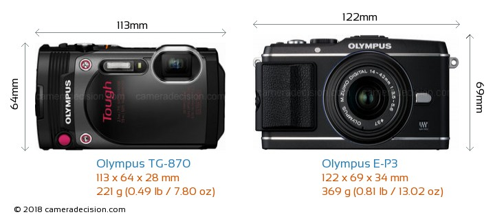 Olympus TG-870 vs Olympus E-P3 Camera Size Comparison - Front View