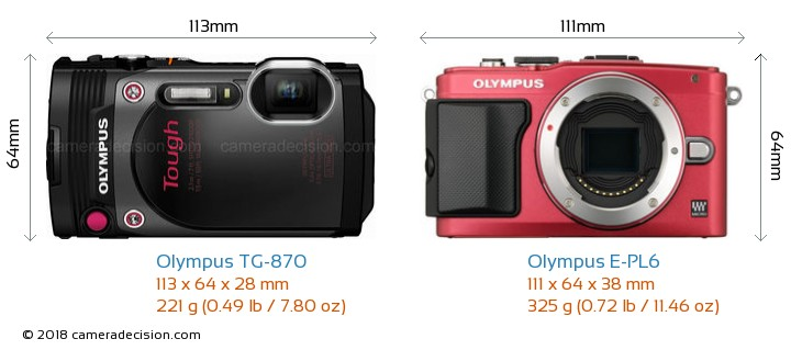 Olympus TG-870 vs Olympus E-PL6 Camera Size Comparison - Front View