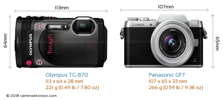 Olympus TG-870 vs Panasonic GF7 Camera Size Comparison - Front View