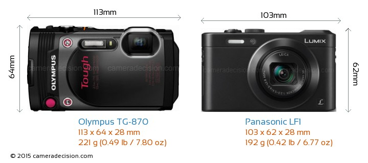 Olympus TG-870 vs Panasonic LF1 Camera Size Comparison - Front View