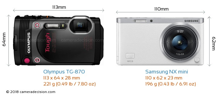 Olympus TG-870 vs Samsung NX mini Camera Size Comparison - Front View